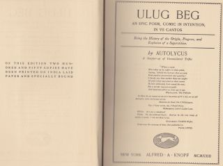 The Sphinx And The Chimaera Part One: Ulug Beg; An Epic Poem, Comic In Intention, In VII Cantos
